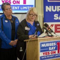Donna Kelly-Williams of the Massachusetts Nurses Association makes a statement on Election Night, conceding ballot Question 1 on patient-to-nurse ratios. (Robin Lubbock/WBUR)