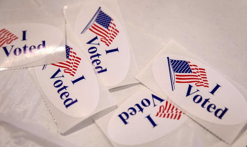 """I Voted"" stickers (Robin Lubbock/WBUR)"