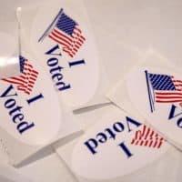 """I Voted"" stickers (Robin Lubbock/WBUR)"