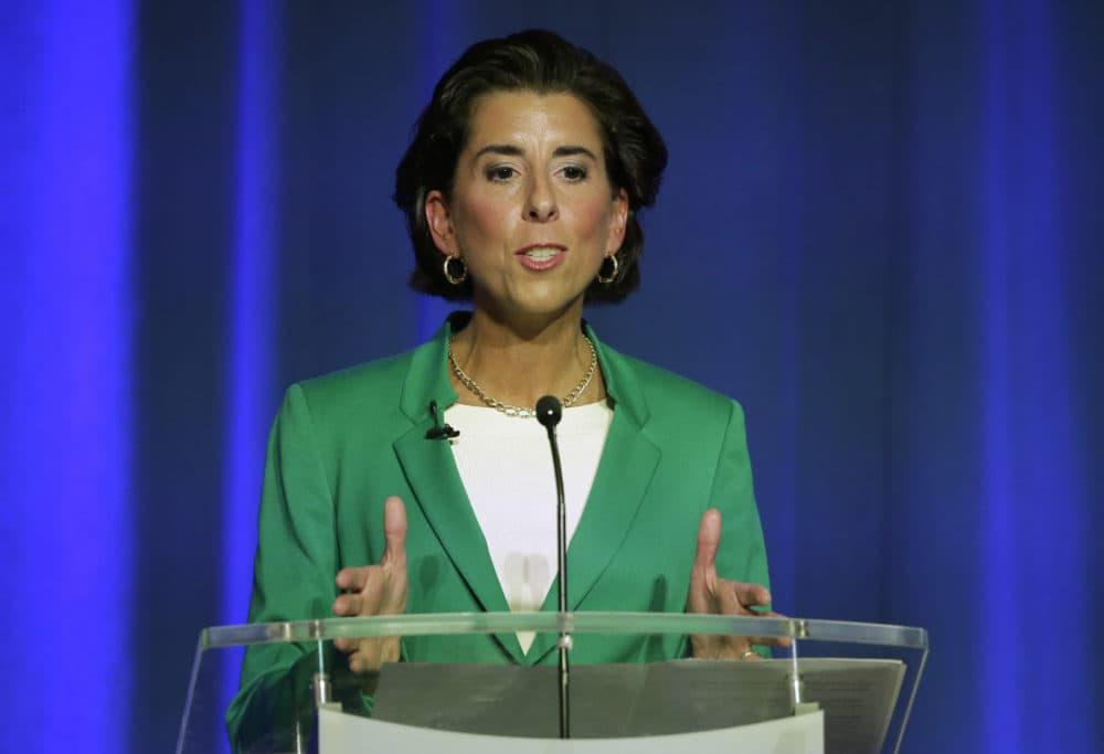 Rhode Island Democratic Gov. Gina Raimondo participates in a televised debate, Sept. 27, 2018, in Bristol, R.I. (Steven Senne/AP)