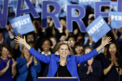 Sen. Elizabeth Warren, D-Mass., gives her victory speech at a Democratic election watch party in Boston. (Michael Dwyer/AP)