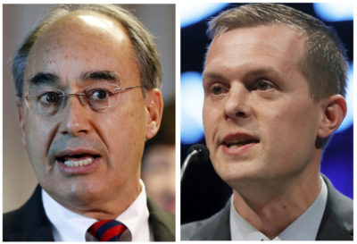 This combination of photos show U.S. Rep. Bruce Poliquin in 2017, left, and state Rep. Jared Golden in 2018, right, in Maine.  (Robert F. Bukaty/AP File Photo)