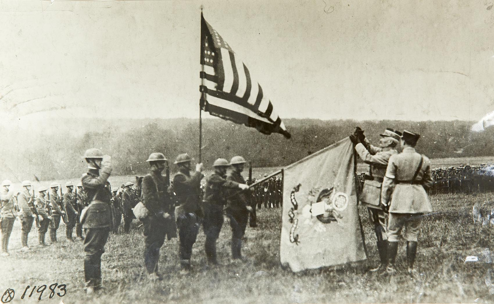 French military leaders award the Croix De Guerre to the 104th Regiment of Infantry in the Yankee Division, making it the first American unit decorated by a foreign country. (Courtesy of the Massachusetts National Guard Archives)