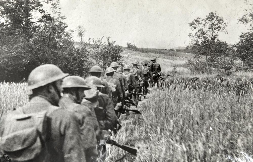 Infantry advancing towards Bouresches Woods. Torcy, France, July 17, 1918. (Massachusetts National Guard Archives)