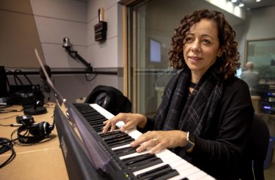 Luciana Souza, a Grammy Award winning musician, says she finds inspiration in the poetry of Leonard Cohen and Emily Dickinson. (Robin Lubbock/WBUR)