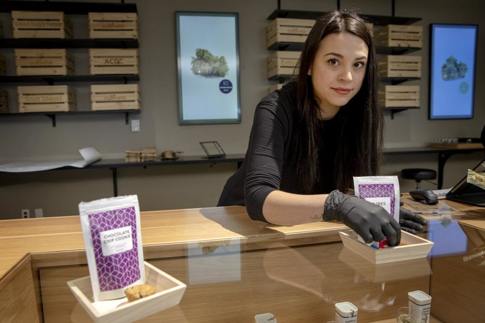 Jennifer Miller is dispensary manager at Cultivate. (Robin Lubbock/WBUR)