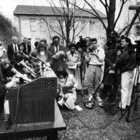 The Gardner Museum's Anne Hawley answers questions at a news conference in the museum's garden area about the robbery of 13 pieces of art on March 19, 1990. (Tom Landers/BostonGlobe)