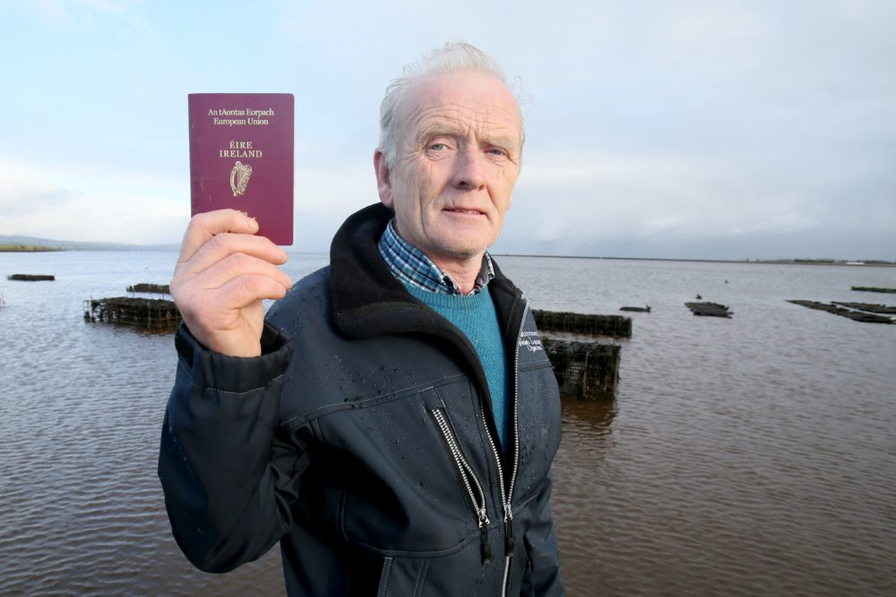 """Oyster farmer William Lynch lives in Northern Ireland. But a good portion of his business happens just over the border in the Republic of Ireland. """"I have to have free movement,"""" Lynch says of how Britain's exit from the European Union stands to impact him. """"I'm in a real pickle."""" (Paul Faith/AFP/Getty Images)"""