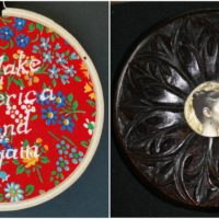 """Elizabeth Menges' embroidery titled """"Kind"""" and carving titled """"Magda."""" (Courtesy of the artist)"""