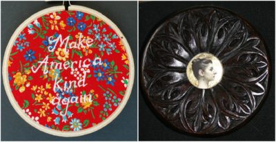 "Elizabeth Menges' embroidery titled ""Kind"" and carving titled ""Magda."" (Courtesy of the artist)"