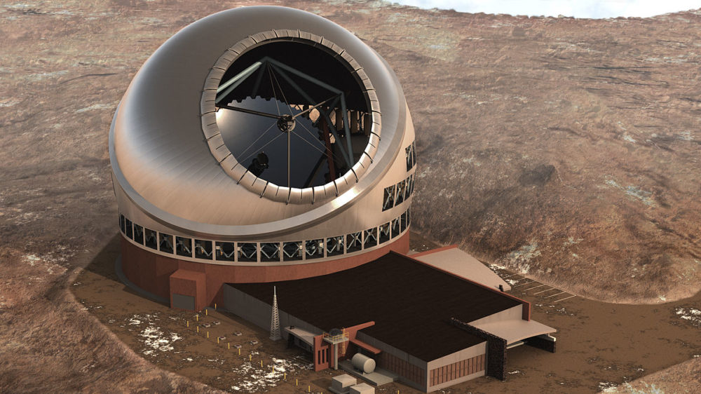 A rendering of the Thirty Meter Telescope. The telescope will allow astronomers to see some 13 billion light years away from Earth. But some say that knowledge shouldn't come at the expense of Hawaiian spirituality. (Courtesy TMT International Observatory)