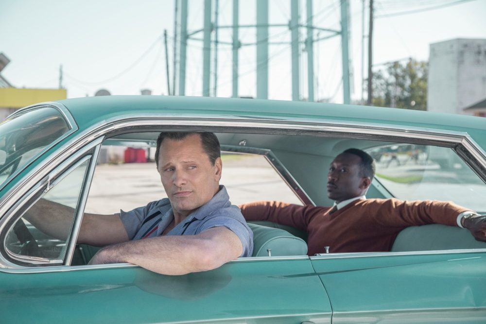 "Viggo Mortensen as Tony Lip and Mahershala Ali as Don Shipley in ""Green Book."" (Courtesy Universal Pictures)"