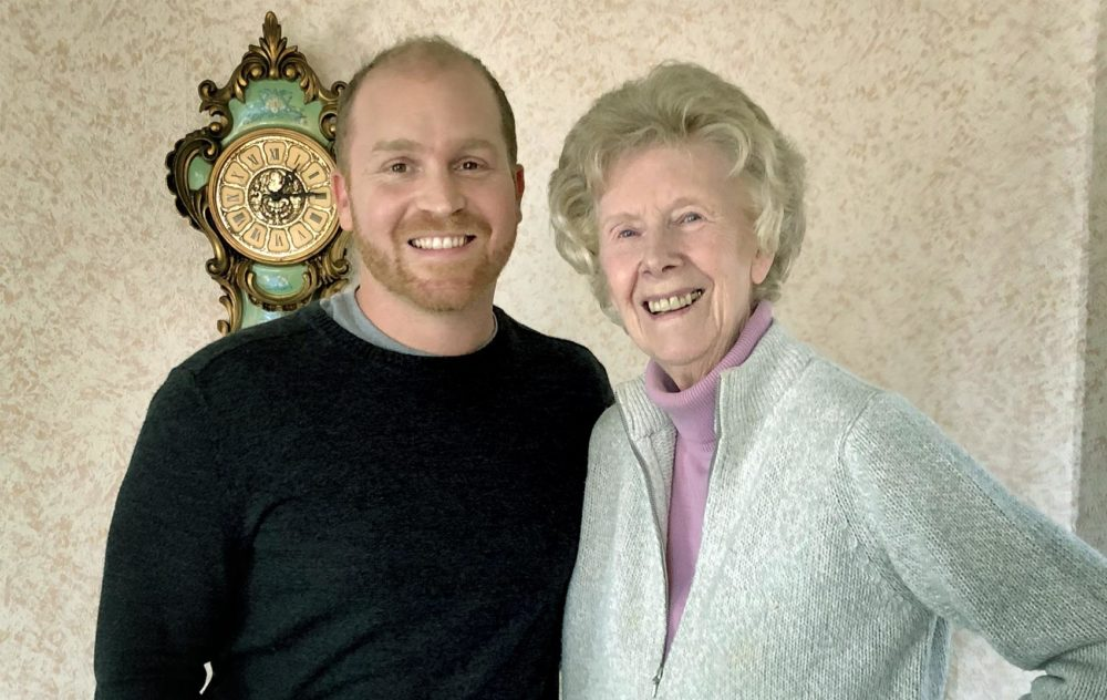 Here & Now's Jeremy Hobson with his grandmother Margaret Hobson at her home in Coventry, England. (Jeremy Hobson/Here & Now)