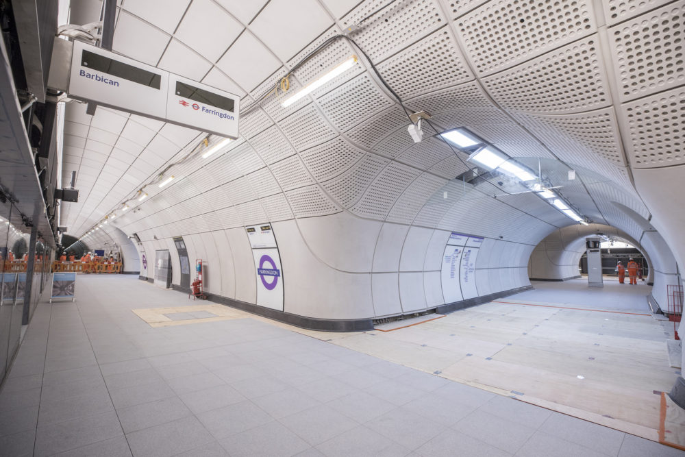 The eastbound platform of the Farringdon Crossrail station. (Courtesy of Crossrail)