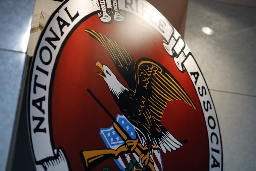 The logo of the National Rifle Association is seen at an outdoor sports trade show in Harrisburg, Pa. (Dominick Reuter/AFP/Getty Images)