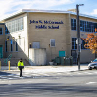 The John W. McCormack Middle School on Columbia Point. (Jesse Costa/WBUR)