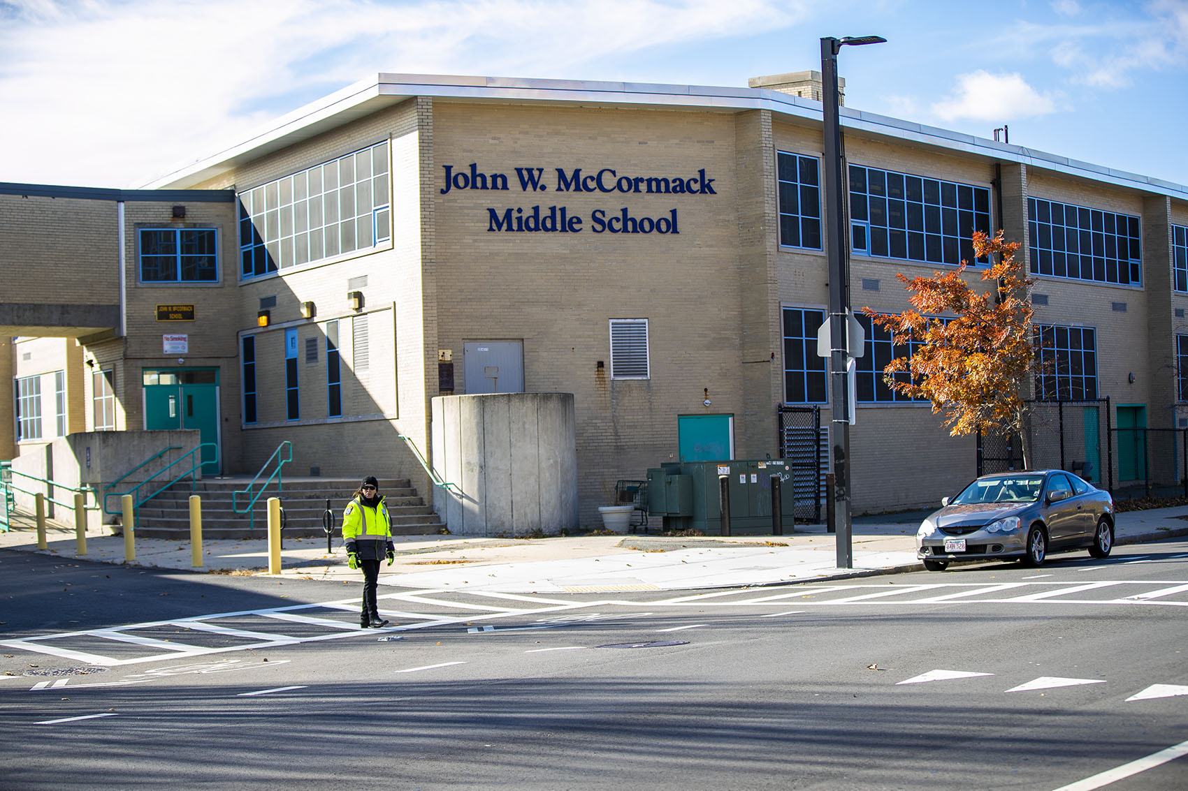The John W. McCormack Middle School on Columbia Point, which is slated to close in 2020. (Jesse Costa/WBUR)