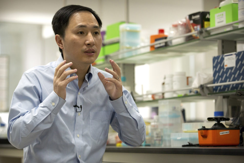 He Jiankui speaks during an interview at a laboratory in Shenzhen in southern China's Guangdong province in October. (Mark Schiefelbein/AP)
