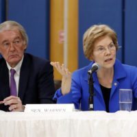 U.S. Sen. Elizabeth Warren, D-Mass., questions gas executives as U.S. Sen. Ed Market, D-Mass., looks on during a hearing on gas pipeline safety in the Merrimack Valley in Lawrence, Mass. (Winslow Townson/AP)