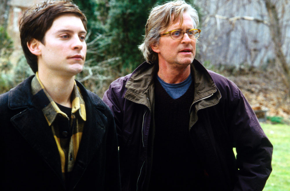 """Tobey Maguire (as James Leer) and Michael Douglas (as Grady Tripp) in """"Wonder Boys."""" (Courtesy Paramount Pictures)"""
