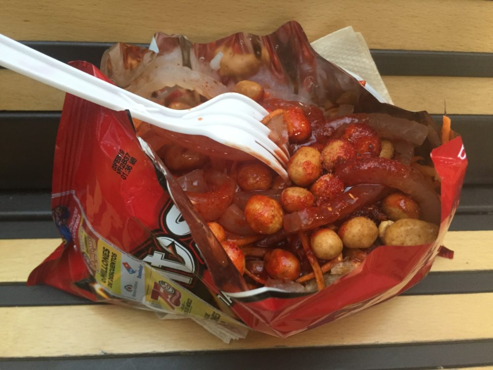 The typical presentation of Dorilocos found in Mexico City, using the bag of Doritos as a bowl. (Rodrigo Cervantes/KJZZ)