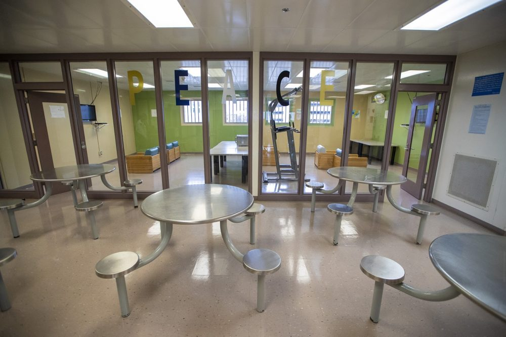 Two recreation rooms outfitted with televisions and PlayStations. (Jesse Costa/WBUR)