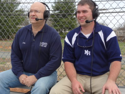 Kelly Epperson with his son Hal Epperson calling a Mount Airy Bears high school baseball game for WPAQ. (Courtesy Kelly Epperson)