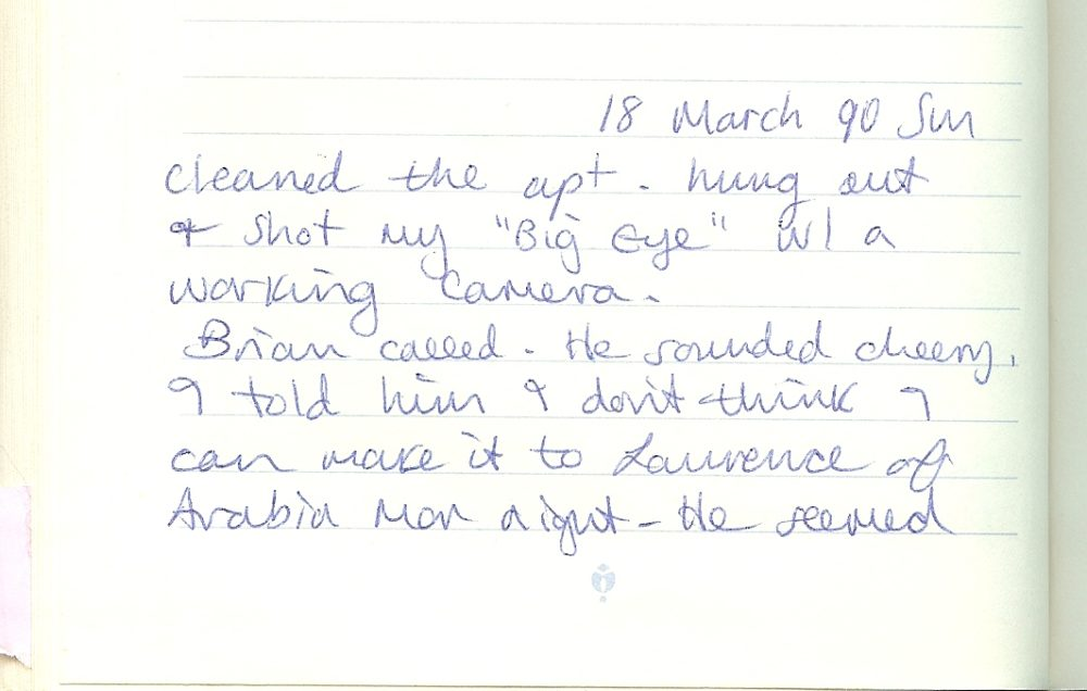 Stéphanie Rabinowitz's diary entry from Sunday, March 18, 1990. (Courtesy Stéphanie Rabinowitz)