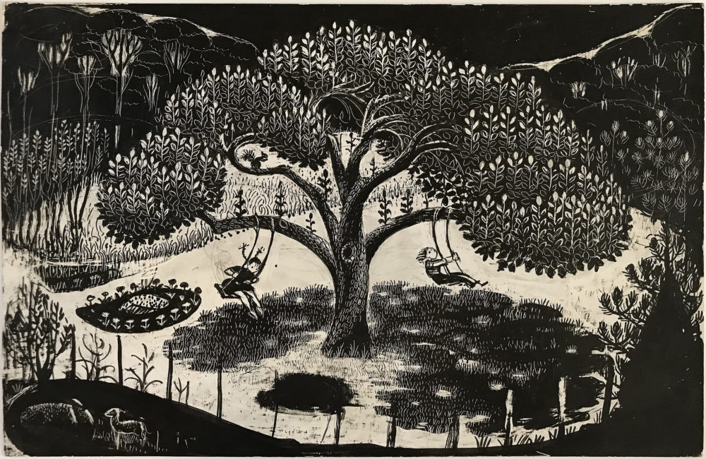 A meticulously crafted wood block print by Virginia Lee Burton (Courtesy Cape Ann Museum)