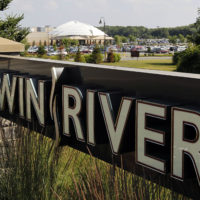 A sign at the entrance to Twin River Casino, in Lincoln, R.I., is seen on July 12, 2011. (Steven Senne/AP)
