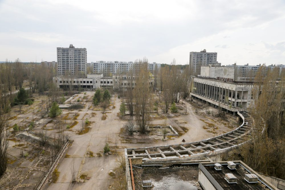 This 2017 photo shows the deserted town of Pripyat, some 3 kilometers from the Chernobyl nuclear power plant in Ukraine. Once home to some 50,000 people whose lives were connected to the plant, Pripyat was evacuated one day after a reactor at the plant exploded on April 26, 1986. (Efrem Lukatsky/AP)