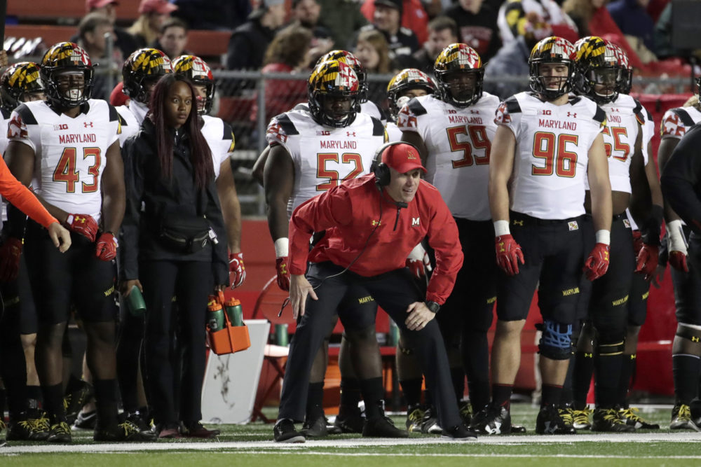 Maryland head coach DJ Durkin looks on during the second half of an NCAA college football game against Rutgers, Saturday, Nov. 4, 2017, in Piscataway, N.J. Rutgers won 31-24. (Julio Cortez/AP)