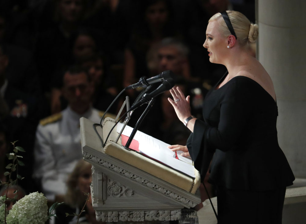 Meghan McCain speaks at a memorial service for her father, Sen. John McCain, R-Ariz., at Washington National Cathedral in Washington, Saturday, Sept. 1, 2018. McCain died Aug. 25, from brain cancer at age 81. (Pablo Martinez Monsivais/AP)