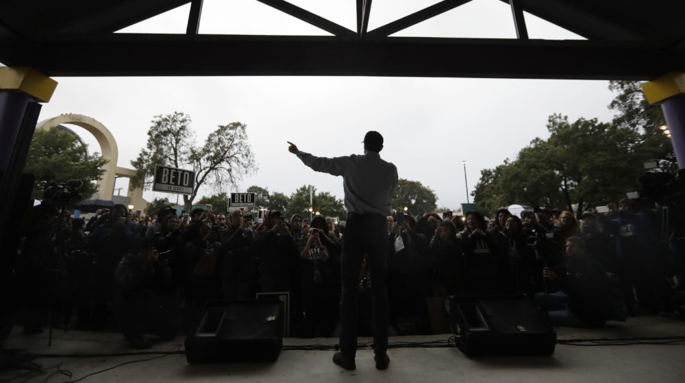 Democratic U.S. Senate candidate Beto O'Rourke speaks at a rally, Monday, Oct. 15, 2018, in San Antonio. (Eric Gay/AP)