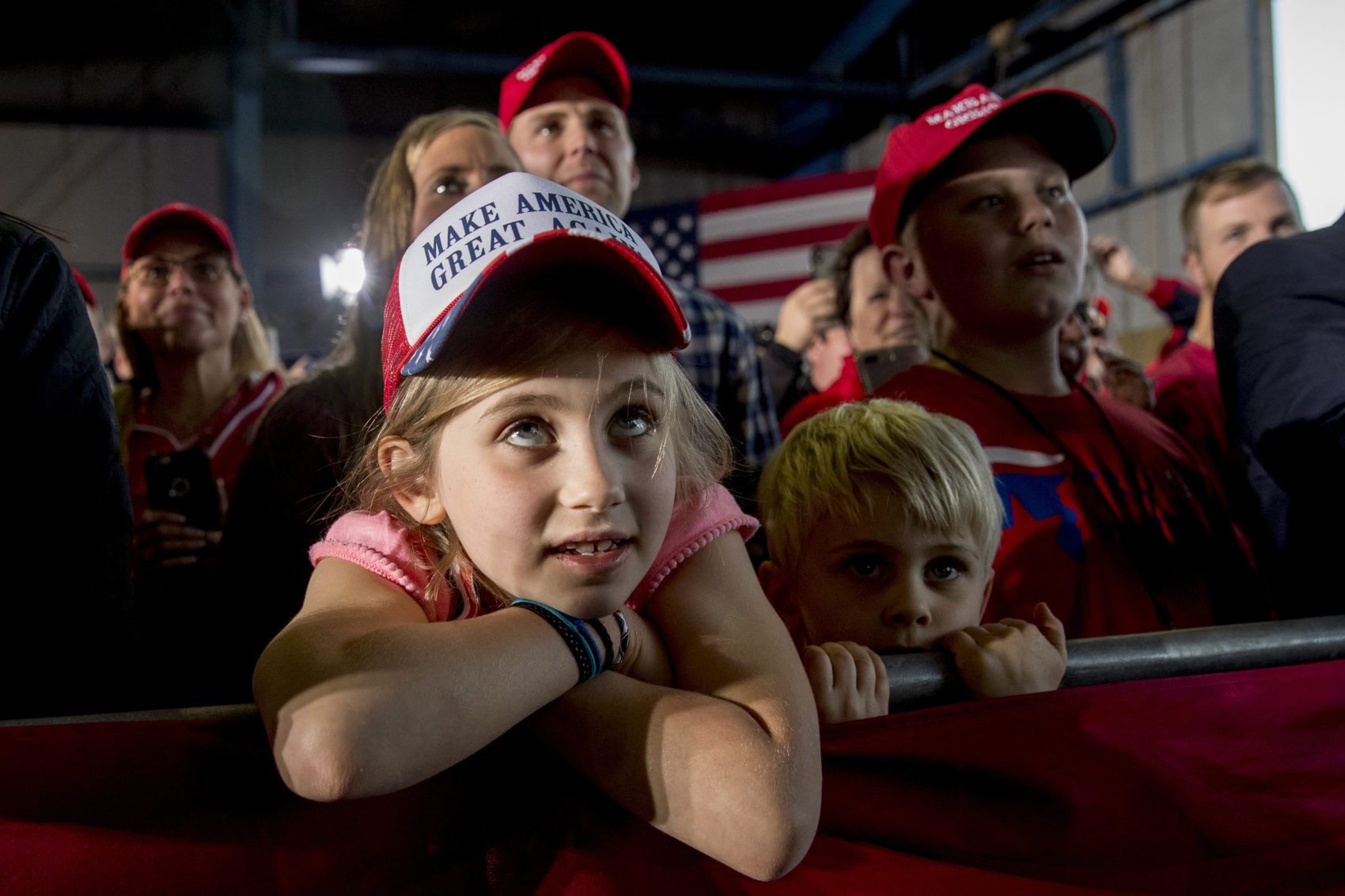 Children in the audience listen as President Donald Trump speaks at a rally at Southern Illinois Airport in Murphysboro, Ill., Saturday, Oct. 27, 2018. (Andrew Harnik/AP)