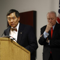 University of Maryland president Wallace Loh, left, speaks at a recent news conference. (Patrick Semansky/AP)