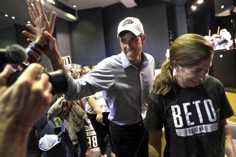 U.S. Rep. Beto O'Rourke, D-El Paso, the 2018 Democratic candidate for U.S. Senate in Texas, with his wife Amy, right, arrives for a campaign rally, Monday, Nov. 5, 2018, in El Paso, Texas. (Eric Gay/AP)