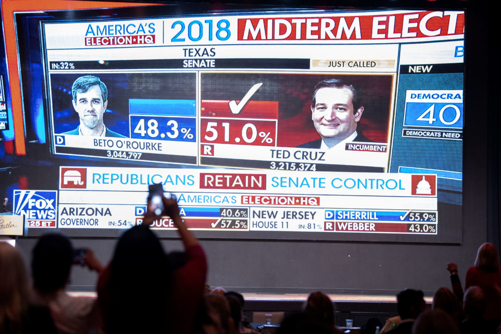 Fox News announces U.S. Sen. Ted Cruz (R-Texas) as the winner over challenger U.S. Rep. Beto O'Rourke during the Dallas County Republican Party election night watch party on Tuesday, Nov. 6, 2018 at The Statler Hotel in Dallas. (Jeffrey McWhorter/AP)