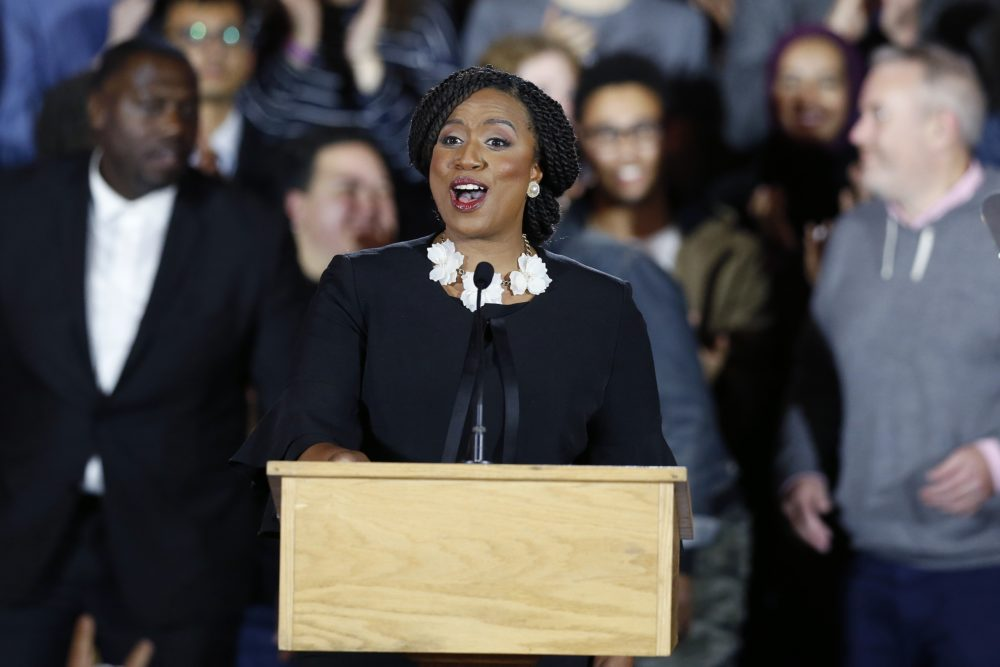 Democrat Ayanna Pressley gives her victory speech at an election night party after being elected to represent Massachusetts' 7th congressional district, Tuesday, Nov. 6, 2018, in Boston. (Michael Dwyer/AP)