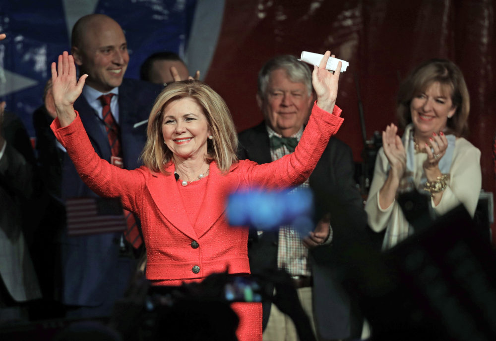 Rep. Marsha Blackburn, R-Tenn., greets supporters after she was declared the winner over former Gov. Phil Bredesen in their race for the U.S. Senate Tuesday, Nov. 6, 2018, in Franklin, Tenn. (Mark Humphrey/AP)