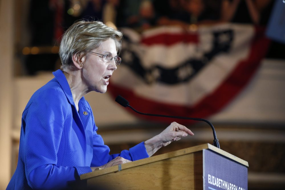 Sen. Elizabeth Warren, D-Mass., delivers her victory speech at an election night watch party in Boston on Tuesday. (Michael Dwyer/AP)