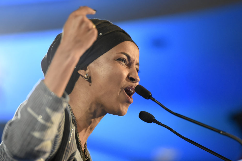 Democrat Ilhan Omar speaks after winning in Minnesota's 5th Congressional District race during the election night event held by the Democratic Party Tuesday, Nov. 6, 2018, in St. Paul, Minn. (Hannah Foslien/AP)
