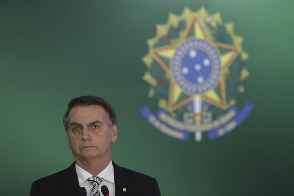 Brazil's President-elect Jair Bolsonaro on Wednesday, Nov. 7 (Eraldo Peres/AP)