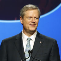 Republican Gov. Charlie Baker speaks to supporters during an election night rally celebrating his reelection, Tuesday, Nov. 6, 2018, in Boston. (Winslow Townson/AP)