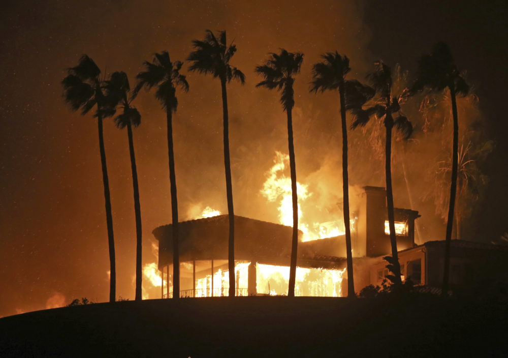 Palm trees frame a home being destroyed by a wildfire above Pacific Coast Highway in Malibu, Calif., Friday, Nov. 9, 2018. Known as the Woolsey Fire, it has consumed tens of thousands of acres and destroyed multiple homes. (Reed Saxon/AP)