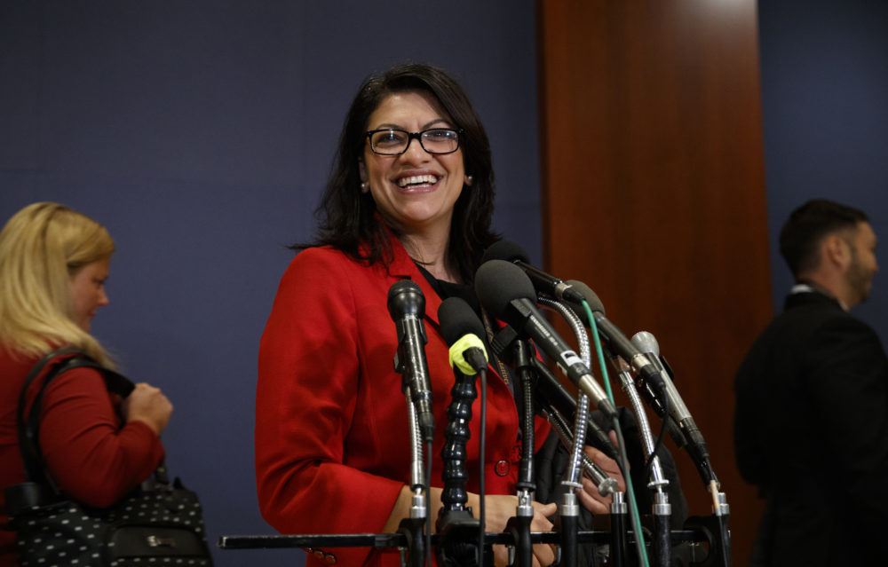 Rep.-elect Rashida Tlaib, D-Mich., pauses to speak to media as she walks from member-elect briefings and orientation on Capitol Hill in Washington, Thursday, Nov. 15, 2018. (Carolyn Kaster/AP)