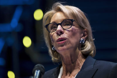 In this Sept. 17, 2018 photo, Education Secretary Betsy DeVos speaks during a student town hall at National Constitution Center in Philadelphia. DeVos is proposing a major overhaul to the way colleges handle complaints of sexual misconduct. The Education Department released a plan Friday that would require schools to investigate sexual assault and harassment only if it was reported to certain campus officials and only if it occurred on campus or other areas overseen by the school. (AP Photo/Matt Rourke)