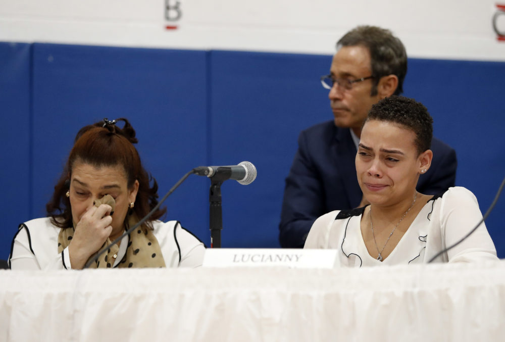 As her mother Rosaly wipes away a tear, Lucianny Rondon, sister of Leonel Rondon, the young man killed in the Sept. 13 Merrimack Valley gas explosions, pauses while making a statement during a hearing Monday in Lawrence. (Winslow Townson/AP)