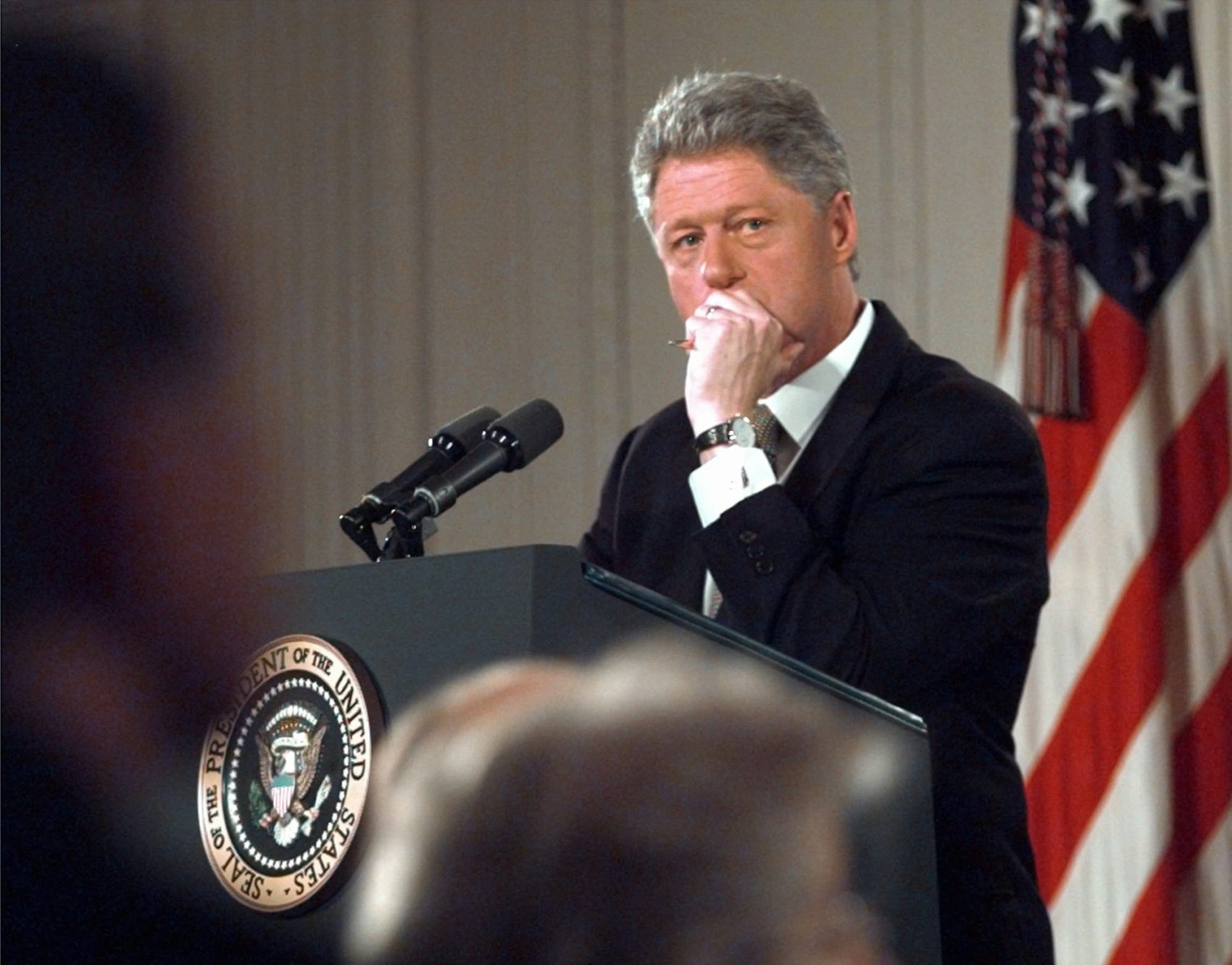 President Clinton ponders a question during his news conference in the East Room of the White House Thursday April 30, 1998. (Ron Edmonds/AP)