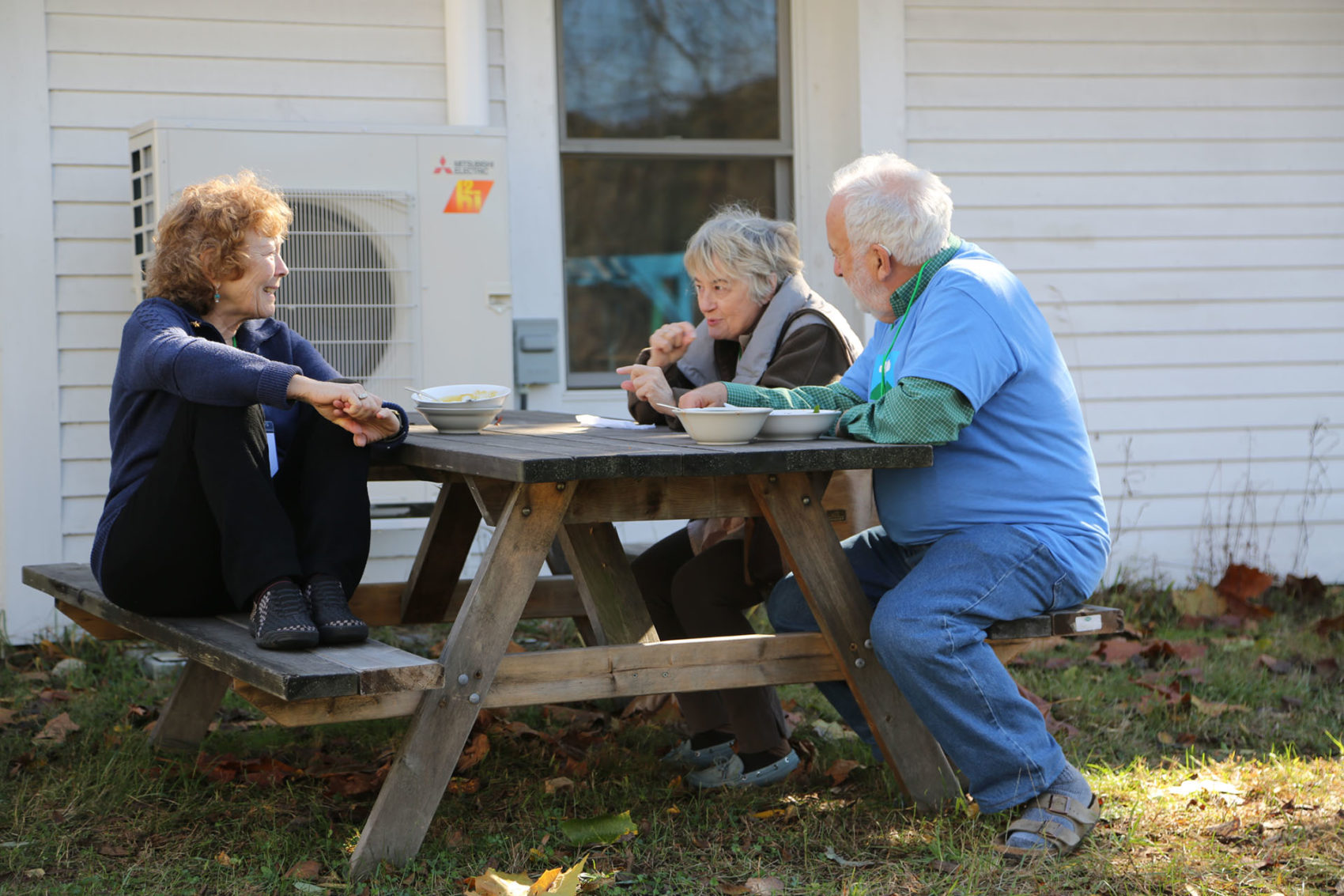 A few members of Hands Across the Hills take a break from a facilitated dialogue session in Leverett, Mass., in October 2017. (Garrison Greenleaf/Courtesy of Hands Across the Hills)